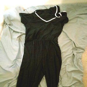 Black striped jumpsuit